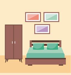 Bedroom interior with furniture frame wardrobe vector