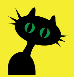 black cartoon cat with green eyes on yellow vector image