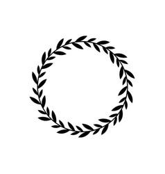 black wreath circle with branch leaves vector image