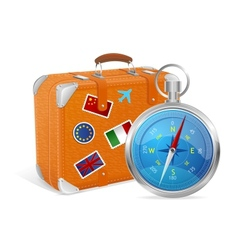 Blue compass and suitcase vector
