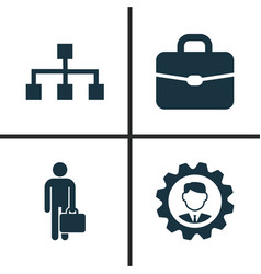 Business icons set collection of suitcase vector