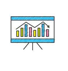 Business statistic graph with documents vector