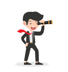 businessman with a telescope vector image