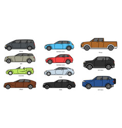 Car body style outline public transport vector