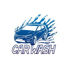 car wash blue sign vector image