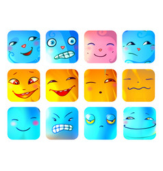 Cartoon funny monster faces set vector