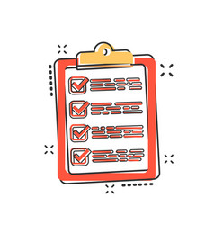 cartoon to do list icon in comic style checklist vector image