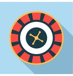 Casino roulette wheel icon flat style vector image