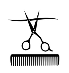 Comb and scissors cutting strand of hair vector