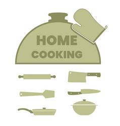 cooking label set with kitchen utensils vector image