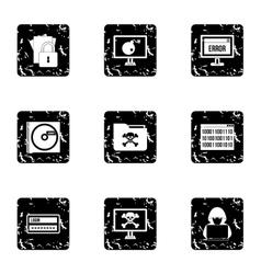 Cracking icons set grunge style vector