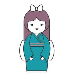 cute little japanese doll vector image