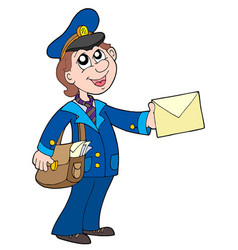 cute postman with letter vector image