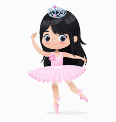 cute small brunette girl ballerina dance isolated vector image