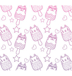 Degraded outline kawaii cats ice lollies vector