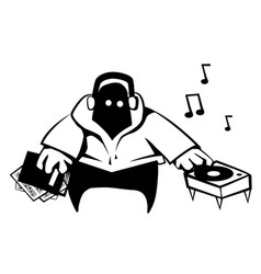 Disc jockey cartoon stencil vector