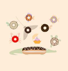 donuts top view sea inhabitants vector image