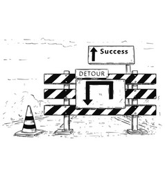Drawing of detour road block with success sign vector
