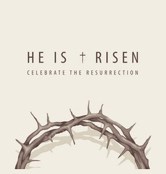 easter banner with inscription and crown thorns vector image