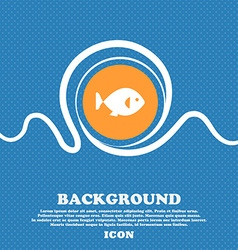 Fish icon sign Blue and white abstract background vector