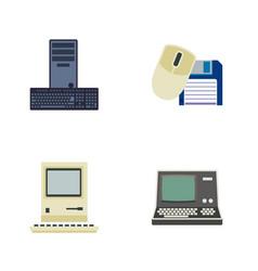 Flat icon laptop set of processor computing vector