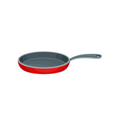 flat icon of red metal frying pan with gray vector image