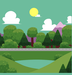 Flat of nature landscape vector