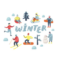 Flat people characters on vacation winter sports vector