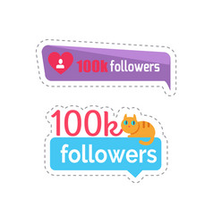 followers sticker with kitten on text set vector image