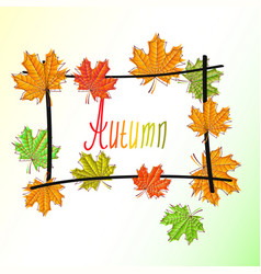 Frame wicker sketch with maple leaves autumn vector