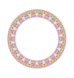Geometrical abstract colorful floral round border vector