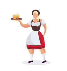 Girl waitress holding beer mugs oktoberfest party vector