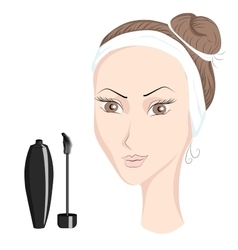 Girl with make up ink for eyelashes vector image