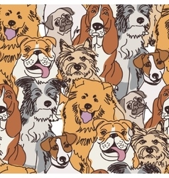 Group dogs seamless pattern color vector image