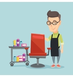 Hairdresser at workplace in beauty salon vector