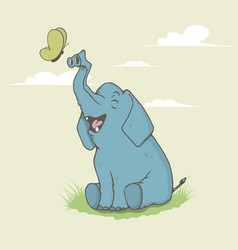 Happy elephant is playing vector