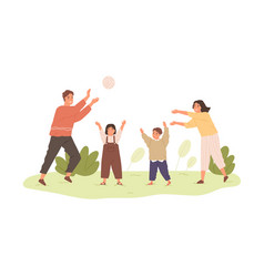 happy healthy family with kids playing with ball vector image