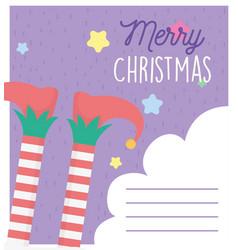 helper legs socks boots star merry christmas tag vector image