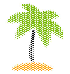 hexagon halftone island tropic palm icon vector image
