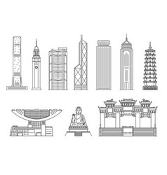 hong kong famous landmarks in black line sketch vector image