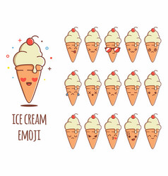 ice cream emoji sticker icon set vector image
