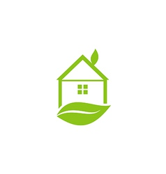 Icon green house with leaf of logo style vector