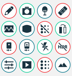 Image icons set with wide angle nature circle vector
