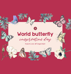 Insect and bird frame design with butterfly vector