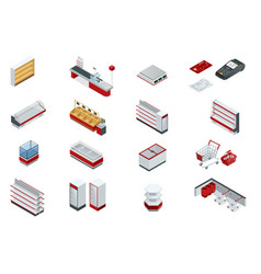 isometric set elements for super market vector image