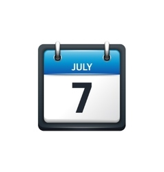 July 7 calendar icon flat vector