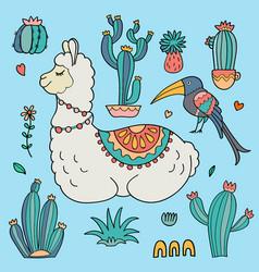 Llama alpaca cacti and bird vector