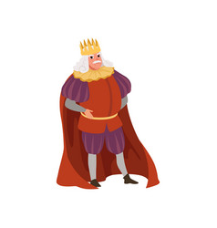 Majestic king in golden crown european medieval vector