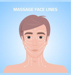 Massage lines on male face beauty treatment skin vector
