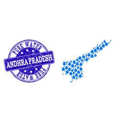 Mosaic map of andhra pradesh state with water dews vector